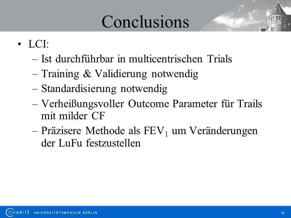 U N I V E R S I T Ä T S M E D I Z I N B E R L I N 15 Conclusions LCI: –Ist durchführbar in multicentrischen Trials –Training & Validierung notwendig –