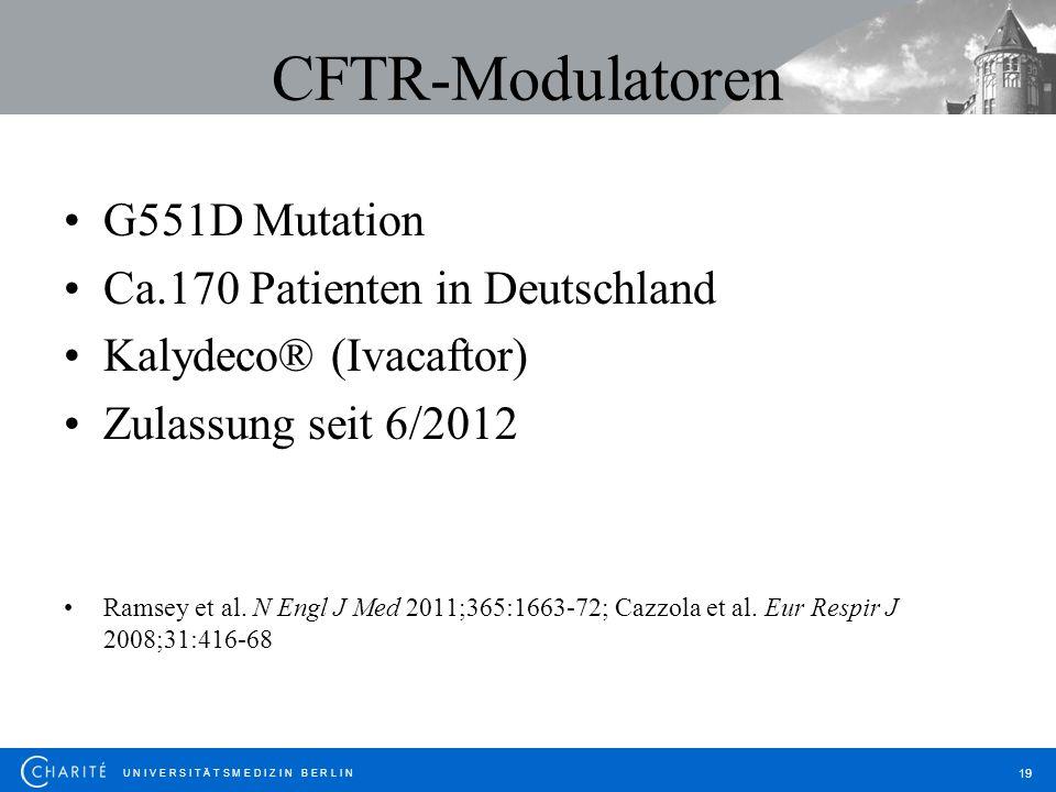 U N I V E R S I T Ä T S M E D I Z I N B E R L I N 19 CFTR-Modulatoren G551D Mutation Ca.170 Patienten in Deutschland Kalydeco® (Ivacaftor) Zulassung s