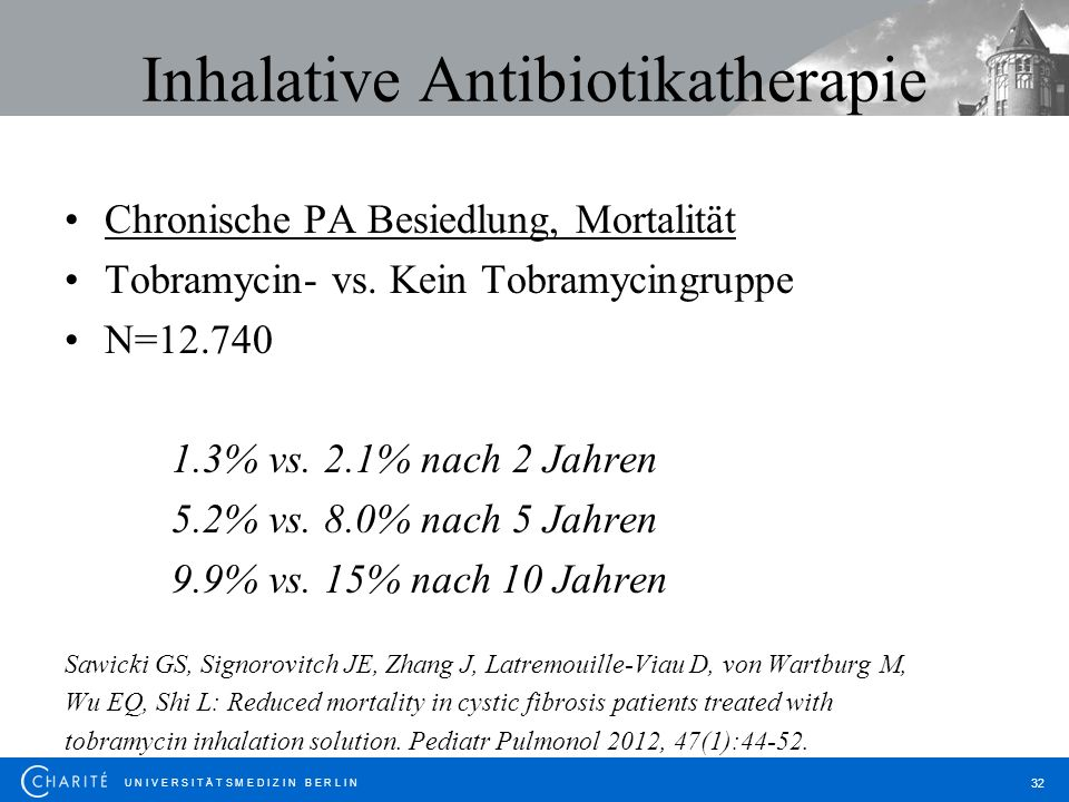 U N I V E R S I T Ä T S M E D I Z I N B E R L I N 32 Inhalative Antibiotikatherapie Chronische PA Besiedlung, Mortalität Tobramycin- vs. Kein Tobramyc