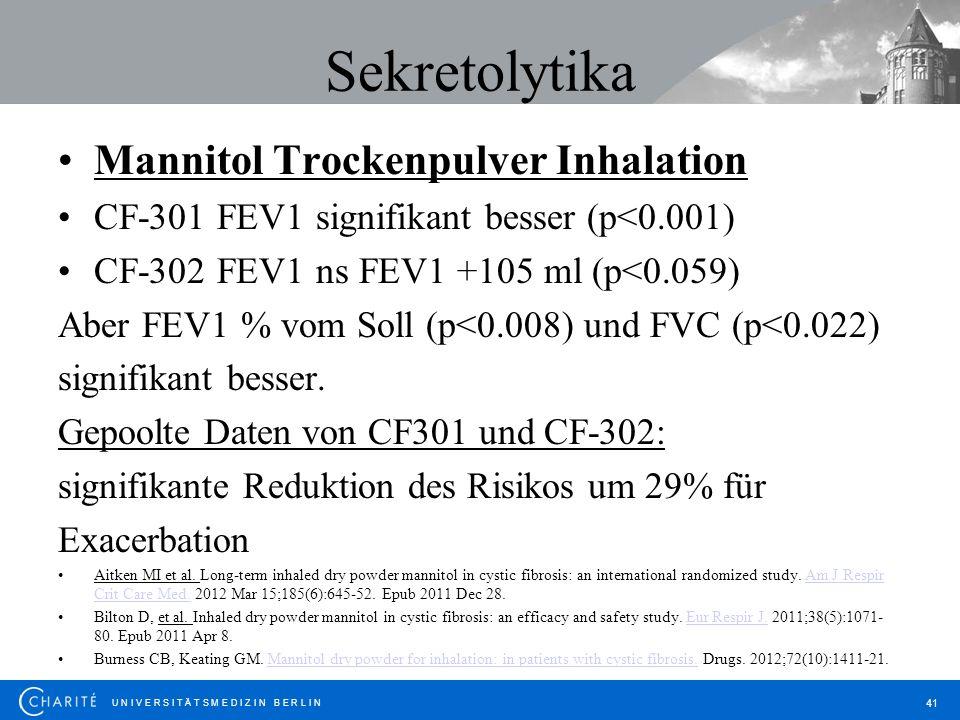 U N I V E R S I T Ä T S M E D I Z I N B E R L I N 41 Sekretolytika Mannitol Trockenpulver Inhalation CF-301 FEV1 signifikant besser (p<0.001) CF-302 F