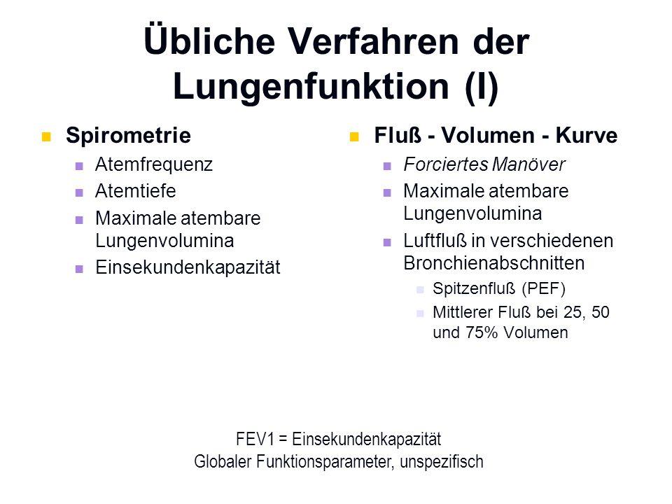 Übliche Verfahren der Lungenfunktion (I) Spirometrie Atemfrequenz Atemtiefe Maximale atembare Lungenvolumina Einsekundenkapazität Fluß - Volumen - Kur