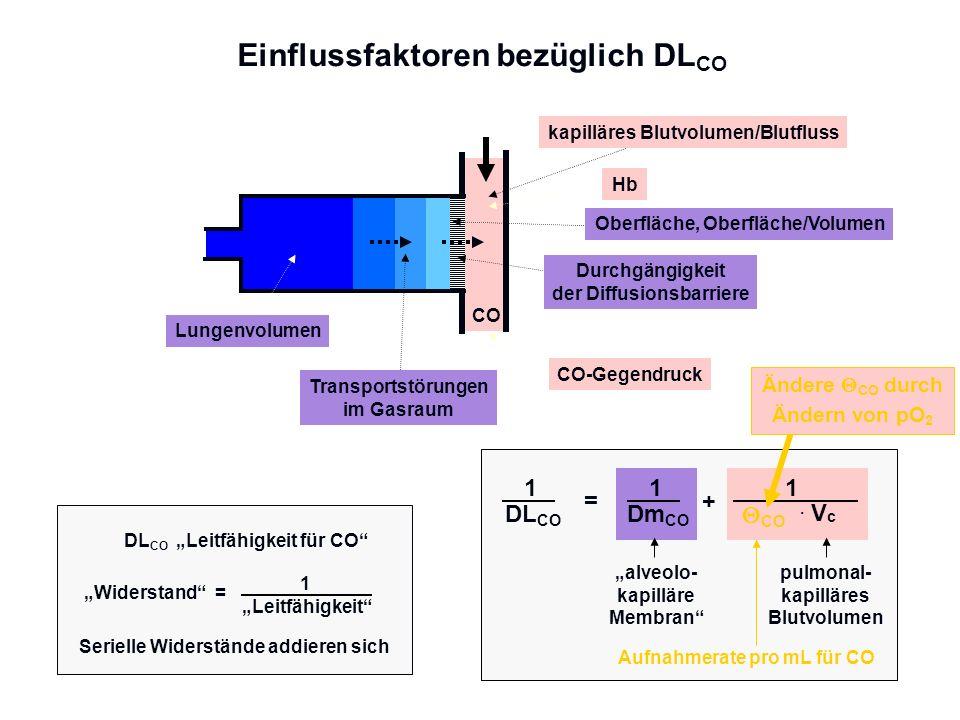 Einflussfaktoren bezüglich DL CO Transportstörungen im Gasraum Lungenvolumen Oberfläche, Oberfläche/Volumen Durchgängigkeit der Diffusionsbarriere CO