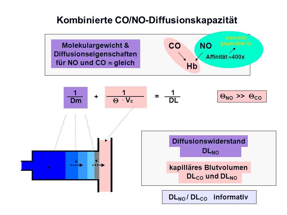 Kombinierte CO/NO-Diffusionskapazität 1 DL 1 Dm 1 =+. V c Diffusionswiderstand DL NO kapilläres Blutvolumen DL CO und DL NO NOCO Hb Affinität 400x Mol