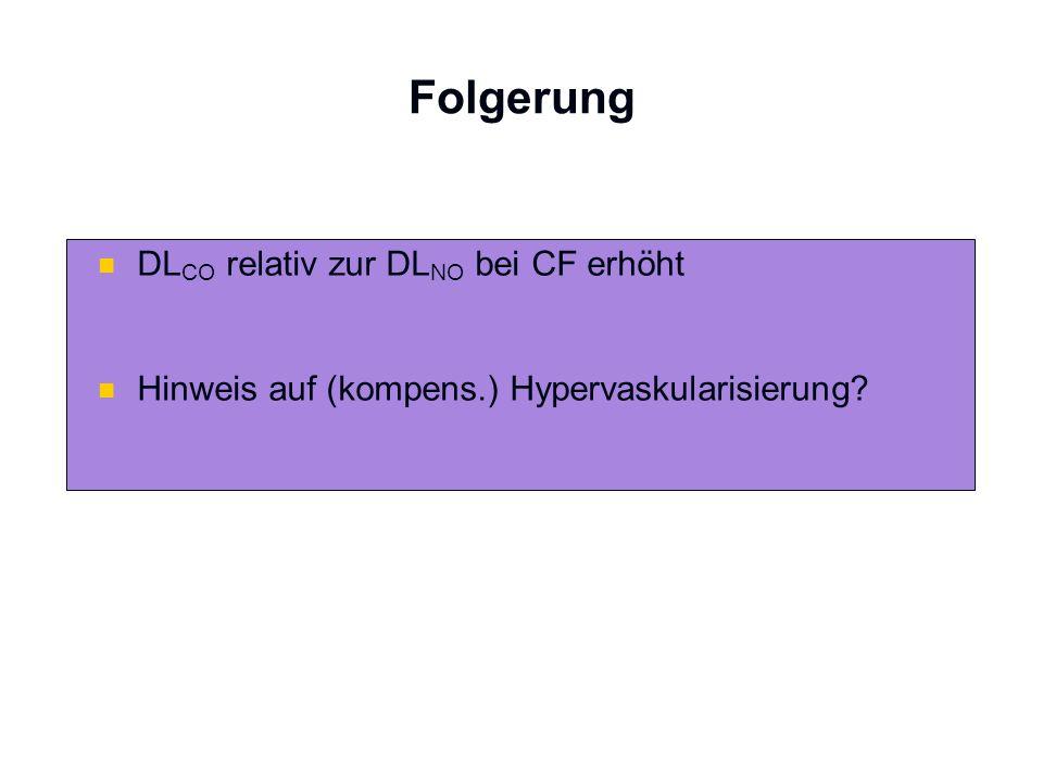 Folgerung DL CO relativ zur DL NO bei CF erhöht Hinweis auf (kompens.) Hypervaskularisierung?