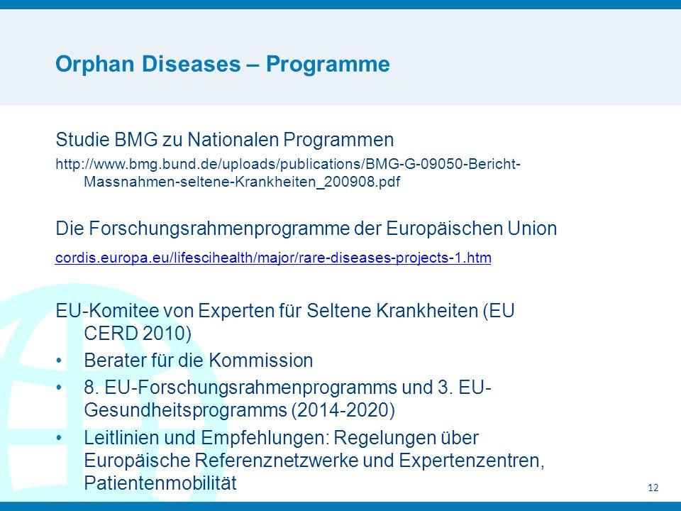 Orphan Diseases – Programme Studie BMG zu Nationalen Programmen http://www.bmg.bund.de/uploads/publications/BMG-G-09050-Bericht- Massnahmen-seltene-Krankheiten_200908.pdf Die Forschungsrahmenprogramme der Europäischen Union cordis.europa.eu/lifescihealth/major/rare-diseases-projects-1.htm EU-Komitee von Experten für Seltene Krankheiten (EU CERD 2010) Berater für die Kommission 8.