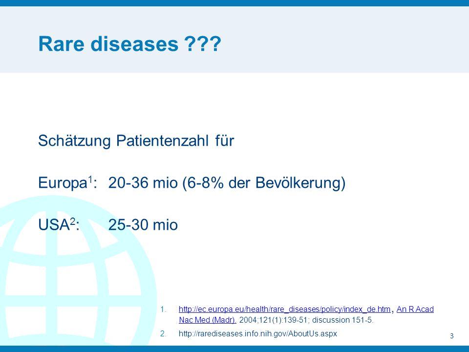 Rare diseases ??? Schätzung Patientenzahl für Europa 1 : 20-36 mio (6-8% der Bevölkerung) USA 2 : 25-30 mio 3 1.http://ec.europa.eu/health/rare_diseas