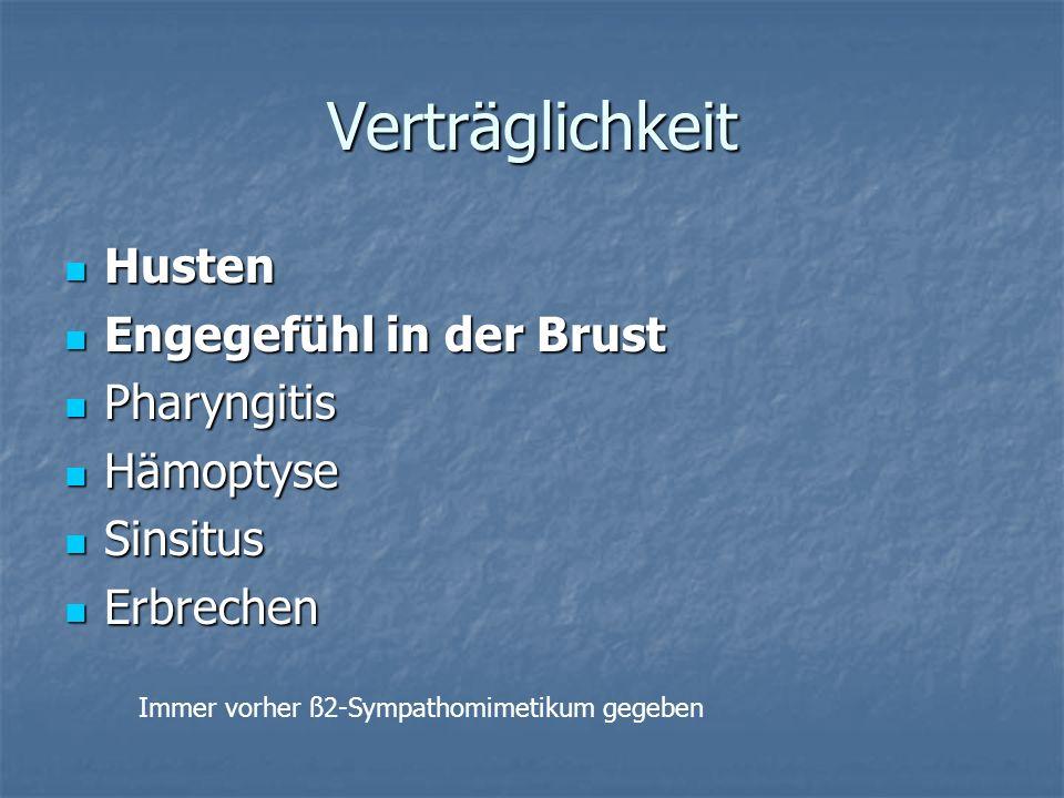 Verträglichkeit Husten Husten Engegefühl in der Brust Engegefühl in der Brust Pharyngitis Pharyngitis Hämoptyse Hämoptyse Sinsitus Sinsitus Erbrechen