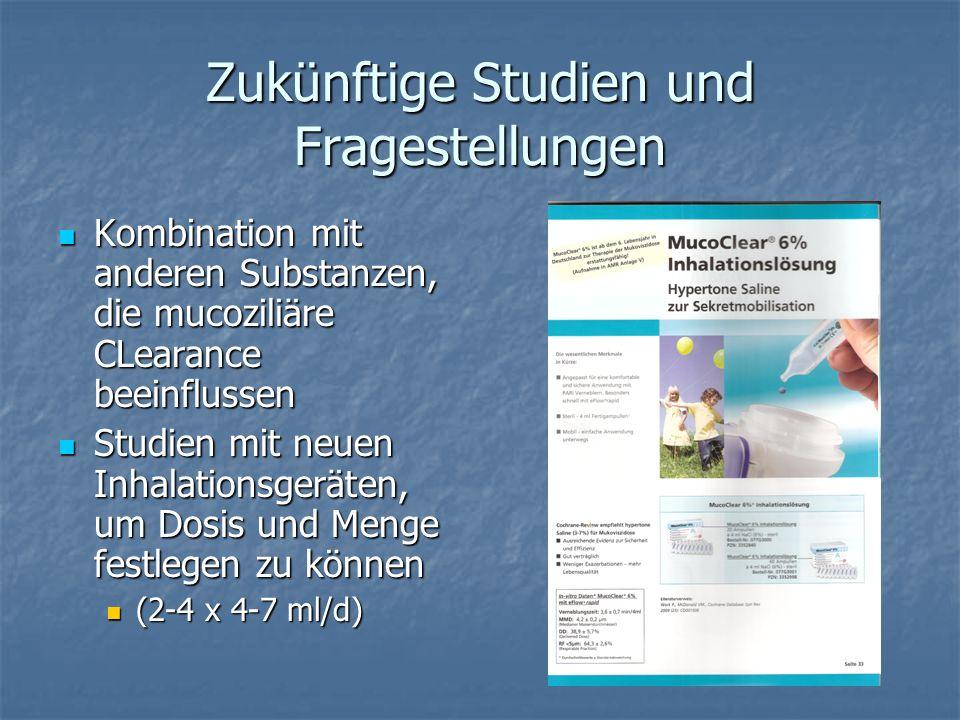 Zukünftige Studien und Fragestellungen Kombination mit anderen Substanzen, die mucoziliäre CLearance beeinflussen Kombination mit anderen Substanzen,