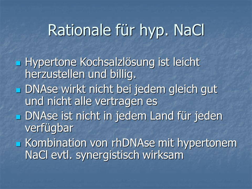 Studien 19 kontrollierte Studien publiziert, 2 davon nur als abstract 19 kontrollierte Studien publiziert, 2 davon nur als abstract 12 Studien im Cochrane Review 2009 12 Studien im Cochrane Review 2009 Hypertone NaCl versus istones NaCl Hypertone NaCl versus istones NaCl Hypertone NaCl versus DNAse/ Amilorid/ Mistabronco (Na-2-Mercaptoethansulfonat) Hypertone NaCl versus DNAse/ Amilorid/ Mistabronco (Na-2-Mercaptoethansulfonat)