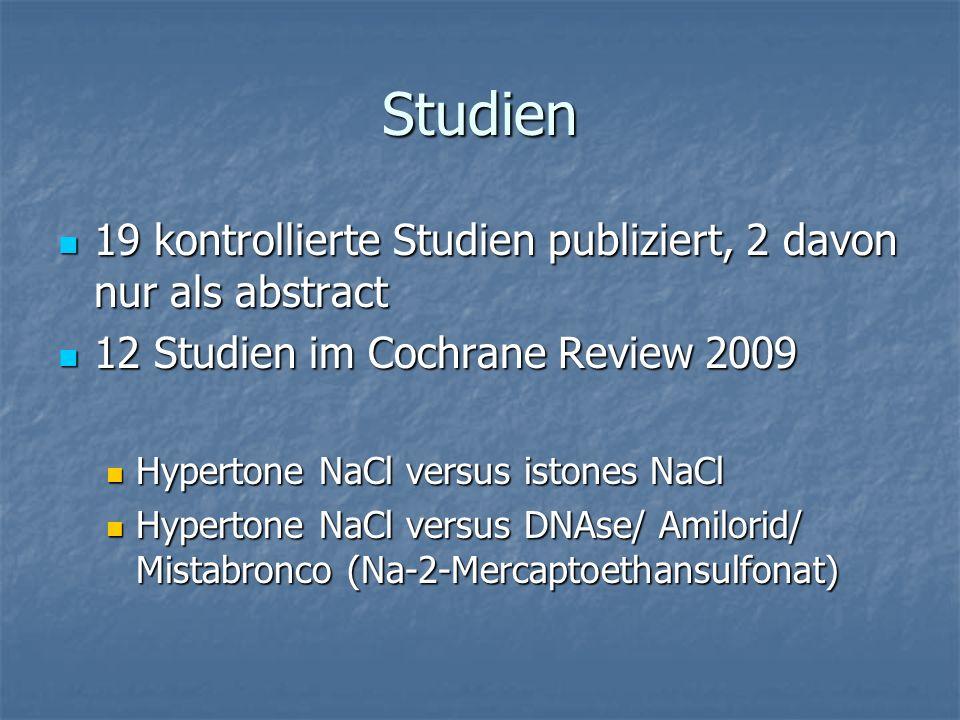 Lungenfunktion Studien Studien Eng 1996: 2 Wochen 6% 2x/d: FEV1 besser Eng 1996: 2 Wochen 6% 2x/d: FEV1 besser Ballmann 1998: 3 Wochen, gleiche Besserung der FEV1 wie DNAse Ballmann 1998: 3 Wochen, gleiche Besserung der FEV1 wie DNAse Weller 1980: 2x 5 ml NaCl 7%/d für 8Wochen, keine Besserung Weller 1980: 2x 5 ml NaCl 7%/d für 8Wochen, keine Besserung Elkins 2006: 45 Wochen, 4 ml 7% 2x/2<: Trend, aber keine Signifikanz Elkins 2006: 45 Wochen, 4 ml 7% 2x/2<: Trend, aber keine Signifikanz Suri 2001: 12 Wochen 2mal 5 ml/d, im Vergleich zu DNAse Lufu schlechter, nicht signifikante Besserung Suri 2001: 12 Wochen 2mal 5 ml/d, im Vergleich zu DNAse Lufu schlechter, nicht signifikante Besserung