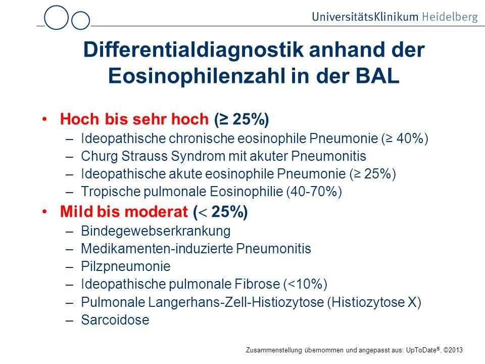 Differentialdiagnostik anhand der Eosinophilenzahl in der BAL Hoch bis sehr hoch ( 25%) –Ideopathische chronische eosinophile Pneumonie ( 40%) –Churg