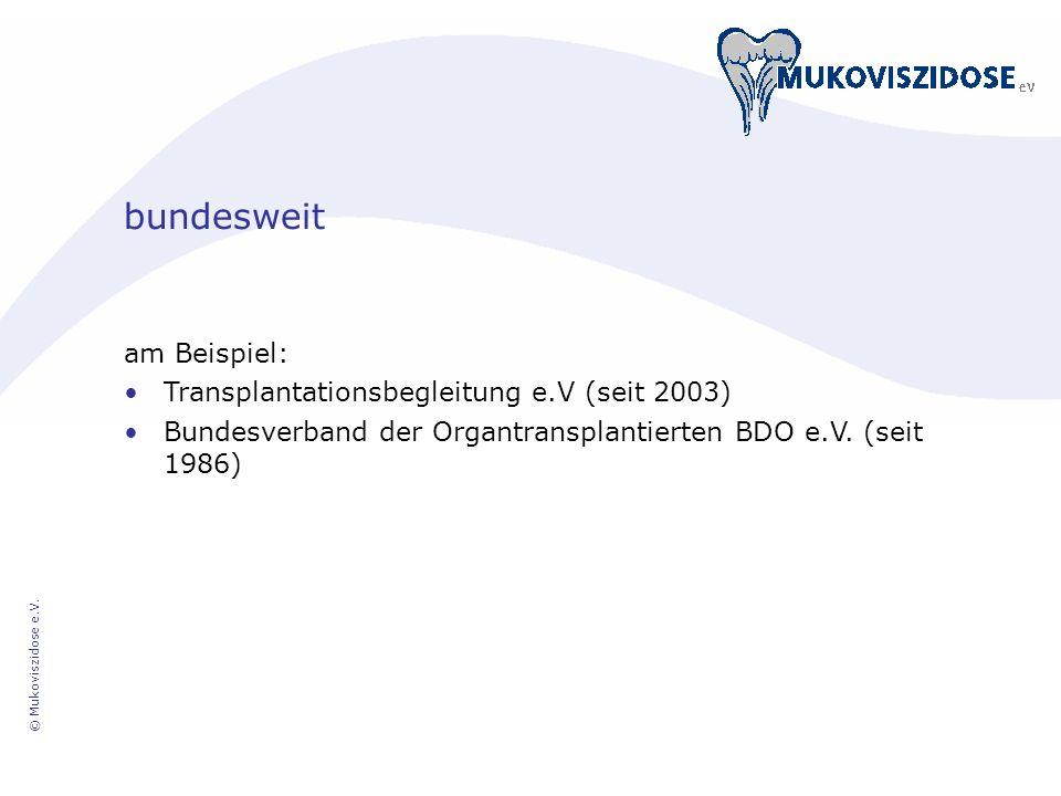 © Mukoviszidose e.V. bundesweit am Beispiel: Transplantationsbegleitung e.V (seit 2003) Bundesverband der Organtransplantierten BDO e.V. (seit 1986)