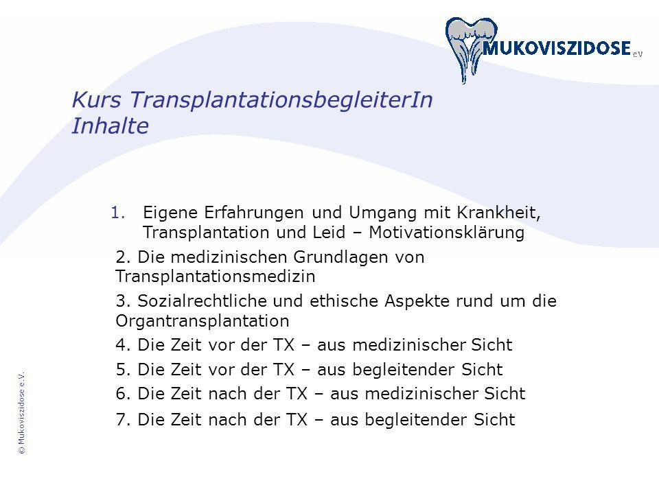 Kurs TransplantationsbegleiterIn Inhalte 1.Eigene Erfahrungen und Umgang mit Krankheit, Transplantation und Leid – Motivationsklärung 2. Die medizinis