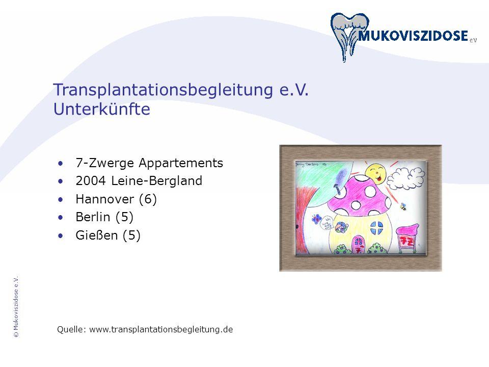 Transplantationsbegleitung e.V. Unterkünfte 7-Zwerge Appartements 2004 Leine-Bergland Hannover (6) Berlin (5) Gießen (5) Quelle: www.transplantationsb