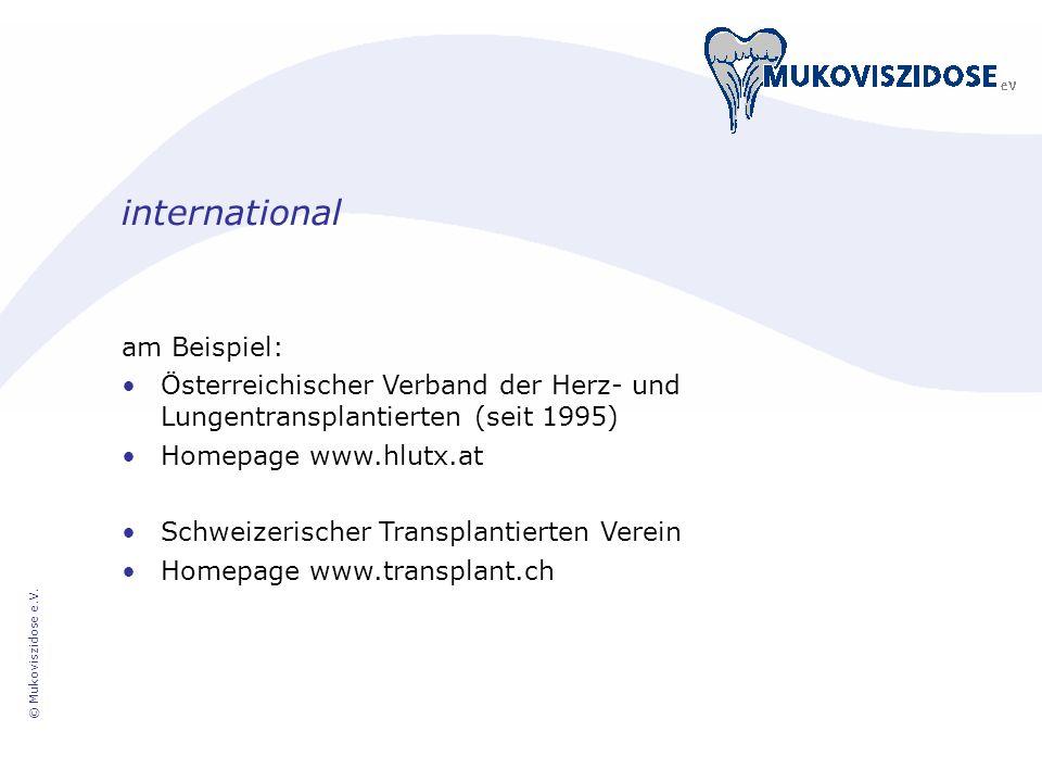 © Mukoviszidose e.V. international am Beispiel: Österreichischer Verband der Herz- und Lungentransplantierten (seit 1995) Homepage www.hlutx.at Schwei