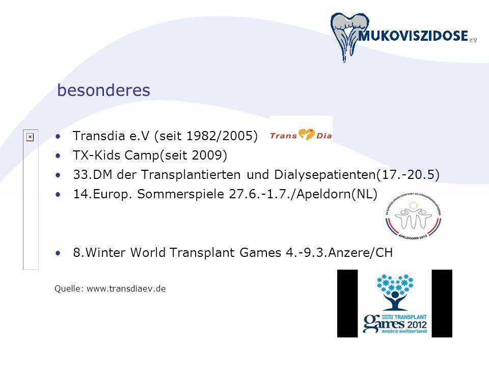 besonderes Transdia e.V (seit 1982/2005) TX-Kids Camp(seit 2009) 33.DM der Transplantierten und Dialysepatienten(17.-20.5) 14.Europ. Sommerspiele 27.6