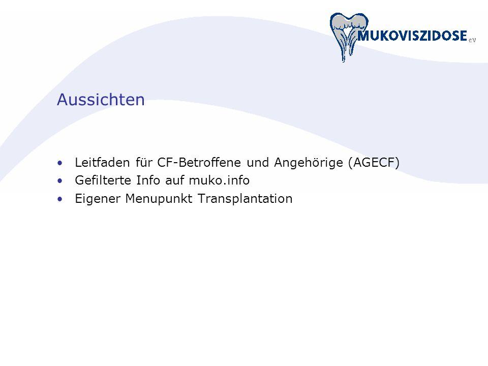 Aussichten Leitfaden für CF-Betroffene und Angehörige (AGECF) Gefilterte Info auf muko.info Eigener Menupunkt Transplantation