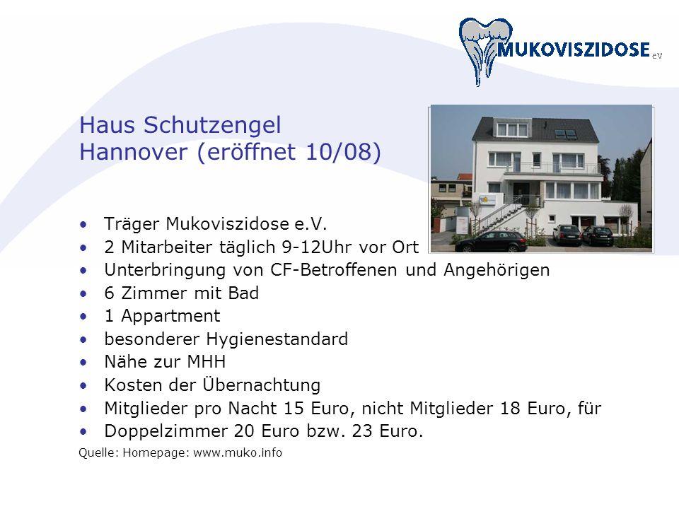 Haus Schutzengel Hannover (eröffnet 10/08) Träger Mukoviszidose e.V. 2 Mitarbeiter täglich 9-12Uhr vor Ort Unterbringung von CF-Betroffenen und Angehö