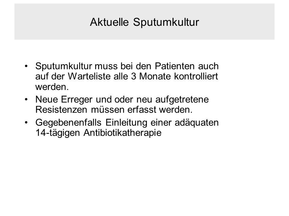 Aktuelle Sputumkultur Sputumkultur muss bei den Patienten auch auf der Warteliste alle 3 Monate kontrolliert werden.