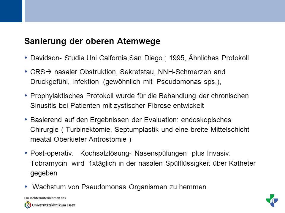 Titel Sanierung der oberen Atemwege Davidson- Studie Uni Calfornia,San Diego ; 1995, Ähnliches Protokoll CRS nasaler Obstruktion, Sekretstau, NNH-Schm