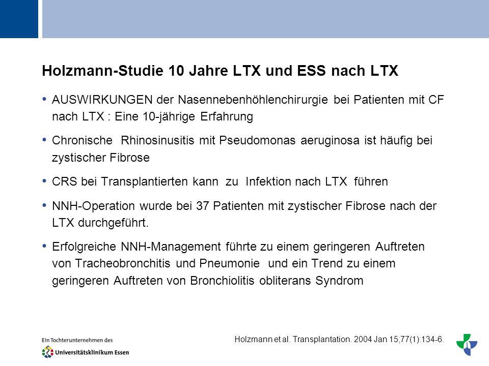 Titel Holzmann-Studie 10 Jahre LTX und ESS nach LTX AUSWIRKUNGEN der Nasennebenhöhlenchirurgie bei Patienten mit CF nach LTX : Eine 10-jährige Erfahru