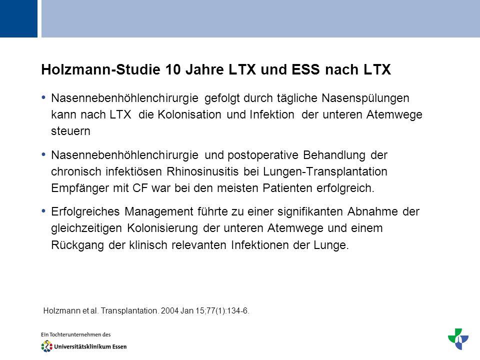 Titel Holzmann-Studie 10 Jahre LTX und ESS nach LTX Nasennebenhöhlenchirurgie gefolgt durch tägliche Nasenspülungen kann nach LTX die Kolonisation und