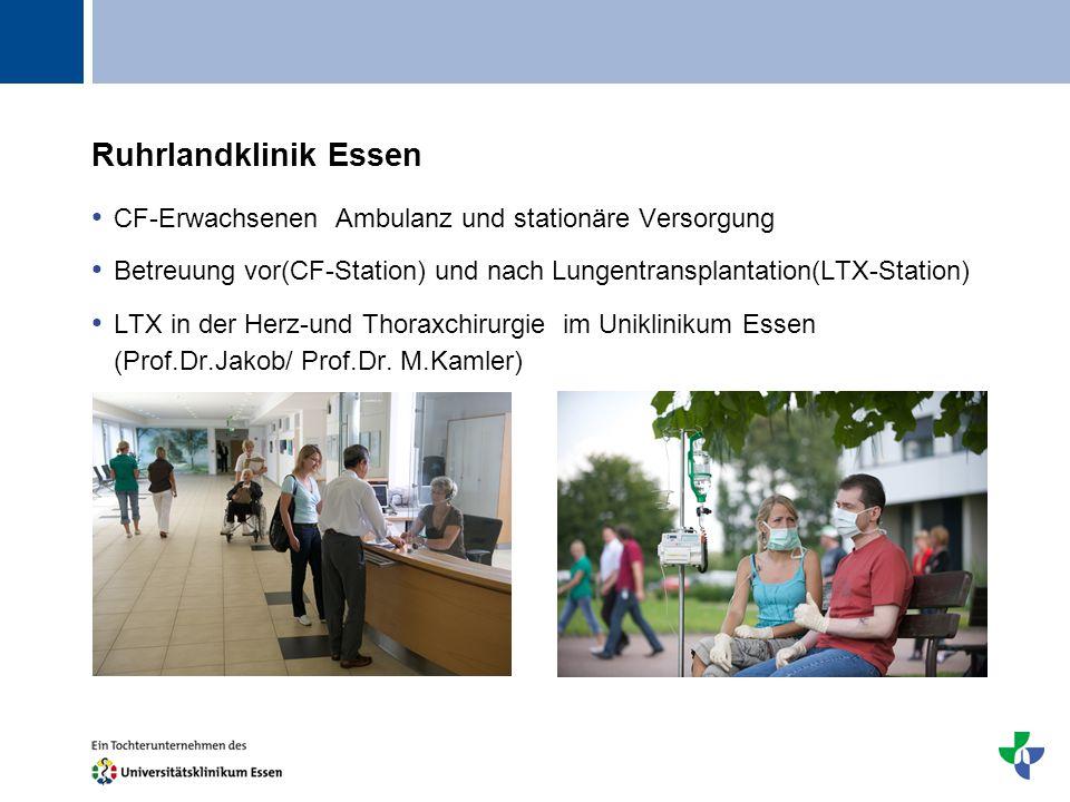 Titel Ruhrlandklinik Essen CF-Erwachsenen Ambulanz und stationäre Versorgung Betreuung vor(CF-Station) und nach Lungentransplantation(LTX-Station) LTX