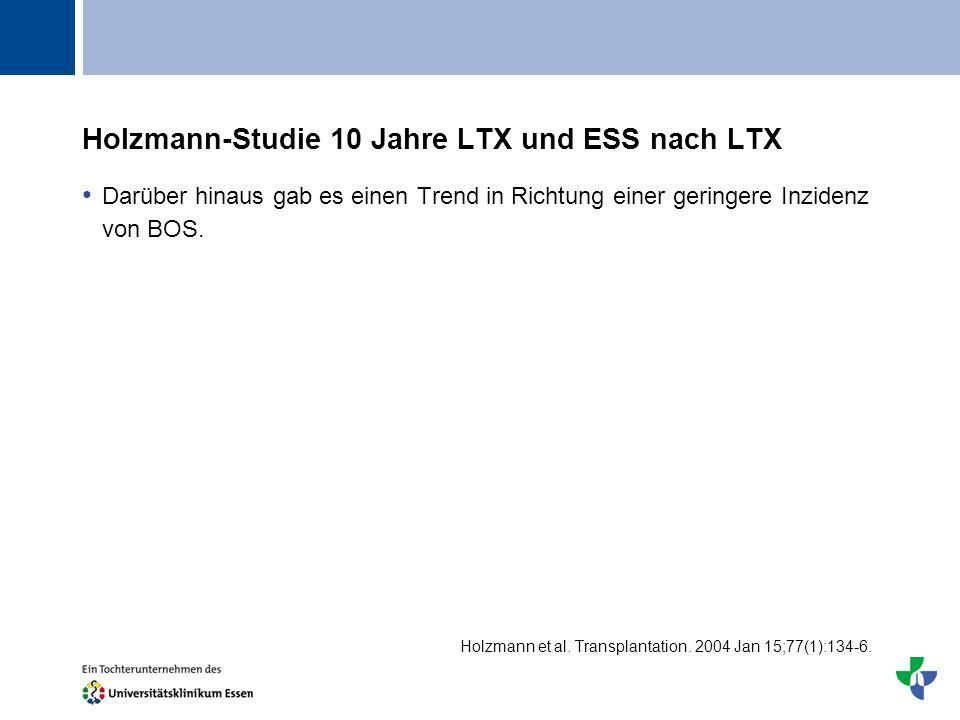 Titel Holzmann-Studie 10 Jahre LTX und ESS nach LTX Darüber hinaus gab es einen Trend in Richtung einer geringere Inzidenz von BOS. Holzmann et al. Tr