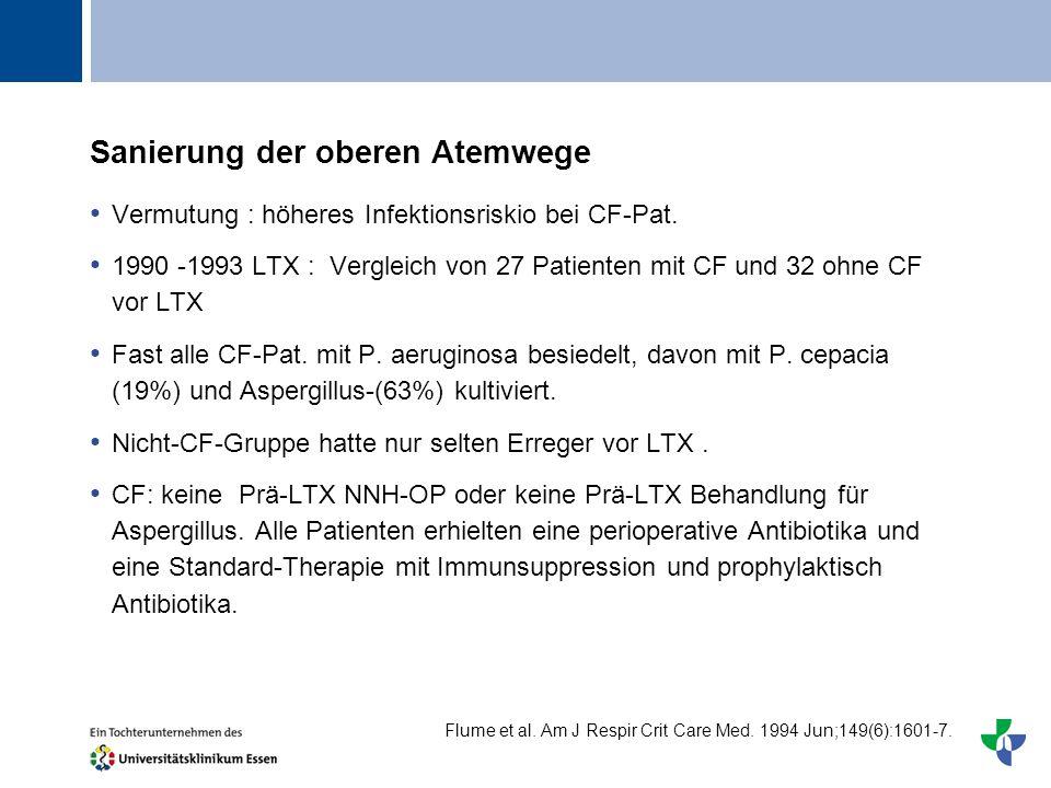 Titel Sanierung der oberen Atemwege Vermutung : höheres Infektionsriskio bei CF-Pat. 1990 -1993 LTX : Vergleich von 27 Patienten mit CF und 32 ohne CF