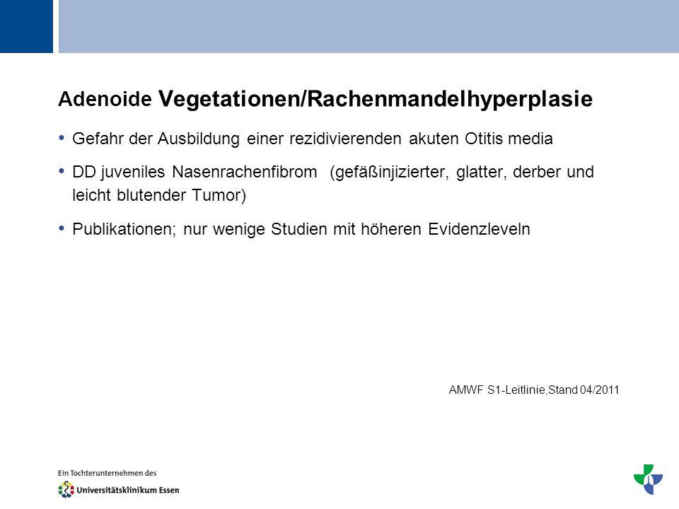 Titel Adenoide Vegetationen/Rachenmandelhyperplasie Gefahr der Ausbildung einer rezidivierenden akuten Otitis media DD juveniles Nasenrachenfibrom (ge