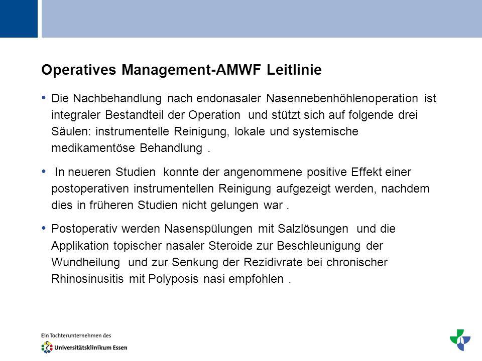 Titel Operatives Management-AMWF Leitlinie Die Nachbehandlung nach endonasaler Nasennebenhöhlenoperation ist integraler Bestandteil der Operation und