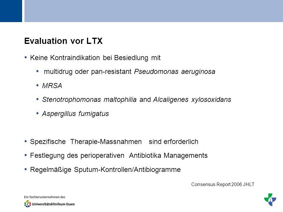 Titel Evaluation vor LTX Keine Kontraindikation bei Besiedlung mit multidrug oder pan-resistant Pseudomonas aeruginosa MRSA Stenotrophomonas maltophil
