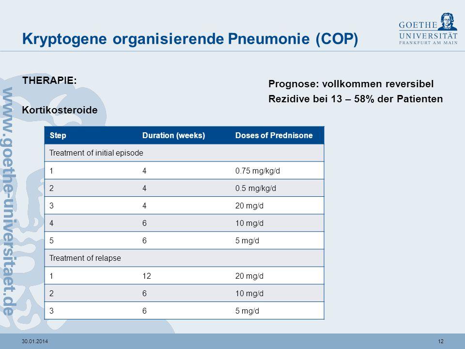 1130.01.2014 Kryptogene organisierende Pneumonie (COP) Kryptogen? sekundäre OP mögliche Auslöser: Bakterien: Streptococcus pneumoniae Actinomyces isra