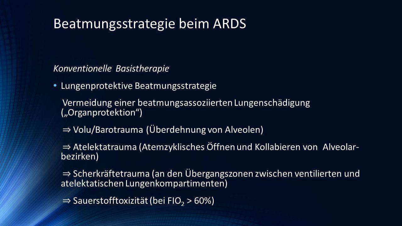 Konventionelle Basistherapie Lungenprotektive Beatmungsstrategie Vermeidung einer beatmungsassoziierten Lungenschädigung (Organprotektion) Volu/Barotr