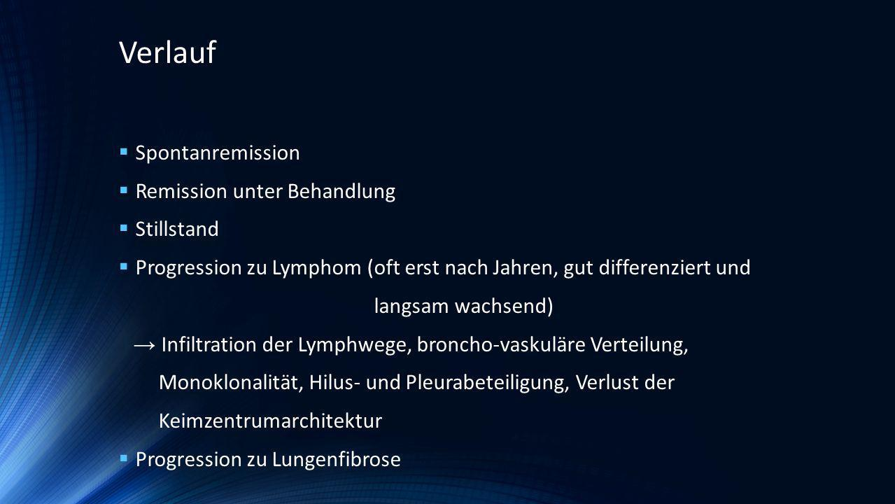 2 Fallserien 52 % zeigten Verbesserung 11 % blieben stabil 37 % verstarben (mittleres Überleben 20 Monate ab Diagnose) Koss MN, Hochholzer L, Langloss JM, et al.