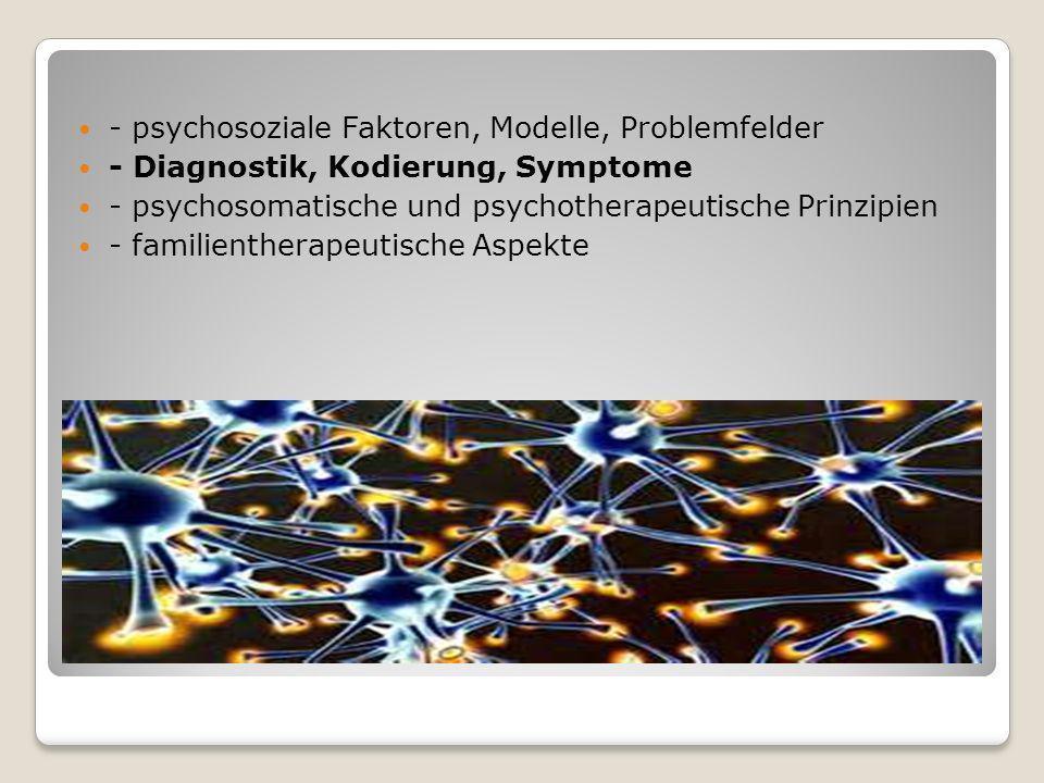 - psychosoziale Faktoren, Modelle, Problemfelder - Diagnostik, Kodierung, Symptome - psychosomatische und psychotherapeutische Prinzipien - familienth