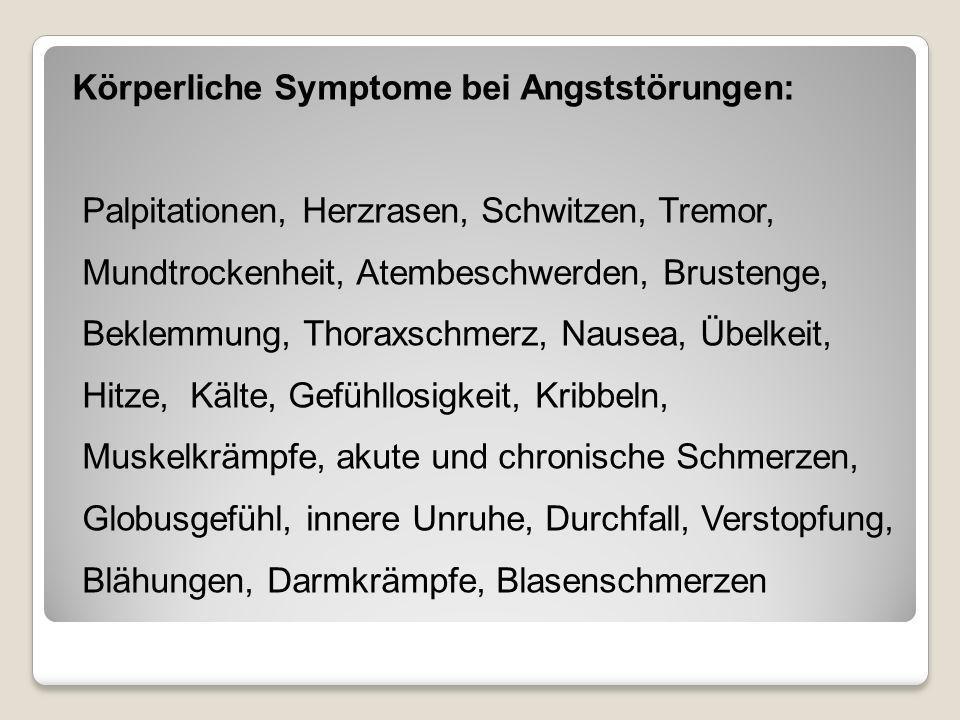 Körperliche Symptome bei Angststörungen: Palpitationen, Herzrasen, Schwitzen, Tremor, Mundtrockenheit, Atembeschwerden, Brustenge, Beklemmung, Thoraxs
