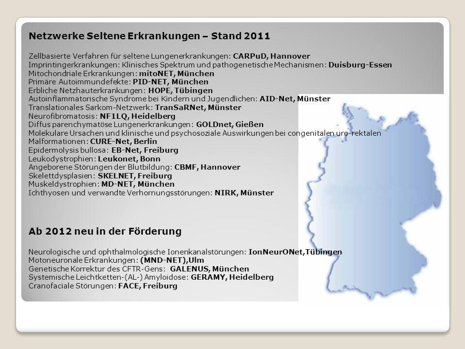 Netzwerke Seltene Erkrankungen – Stand 2011 Zellbasierte Verfahren für seltene Lungenerkrankungen: CARPuD, Hannover Imprintingerkrankungen: Klinisches