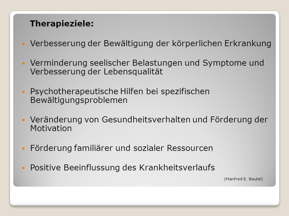 Therapieziele: Verbesserung der Bewältigung der körperlichen Erkrankung Verminderung seelischer Belastungen und Symptome und Verbesserung der Lebensqu