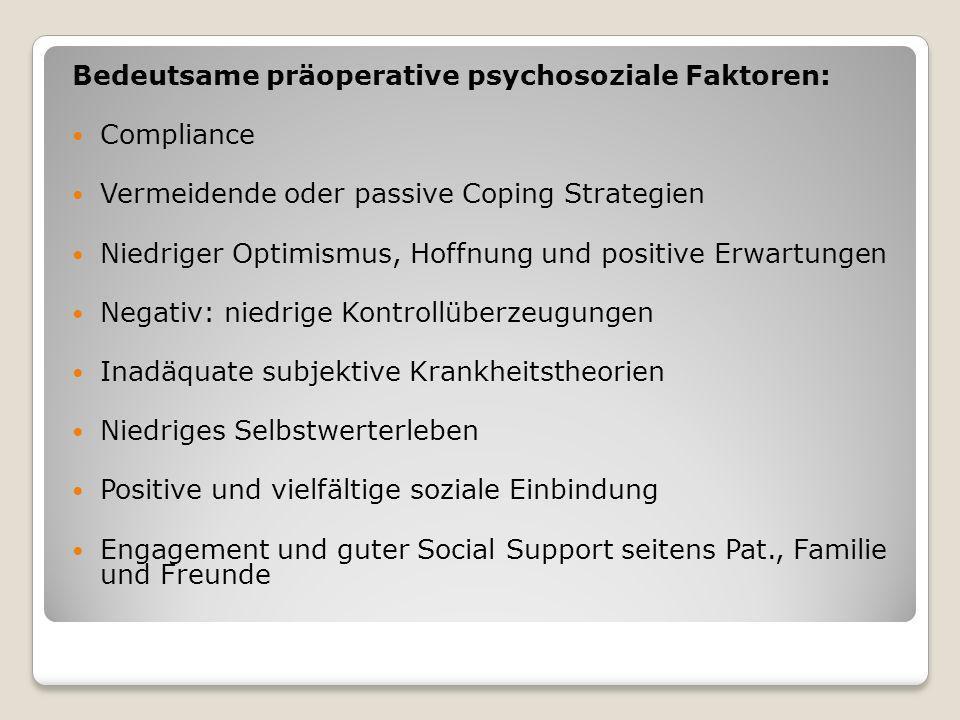 Bedeutsame präoperative psychosoziale Faktoren: Compliance Vermeidende oder passive Coping Strategien Niedriger Optimismus, Hoffnung und positive Erwa