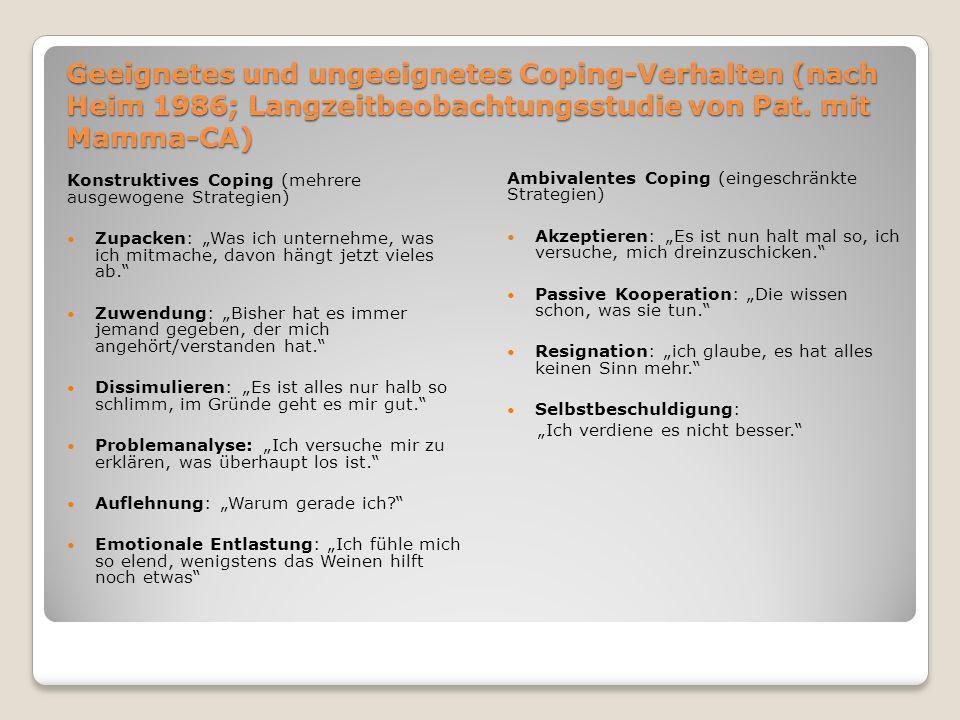 Geeignetes und ungeeignetes Coping-Verhalten (nach Heim 1986; Langzeitbeobachtungsstudie von Pat. mit Mamma-CA) Konstruktives Coping (mehrere ausgewog
