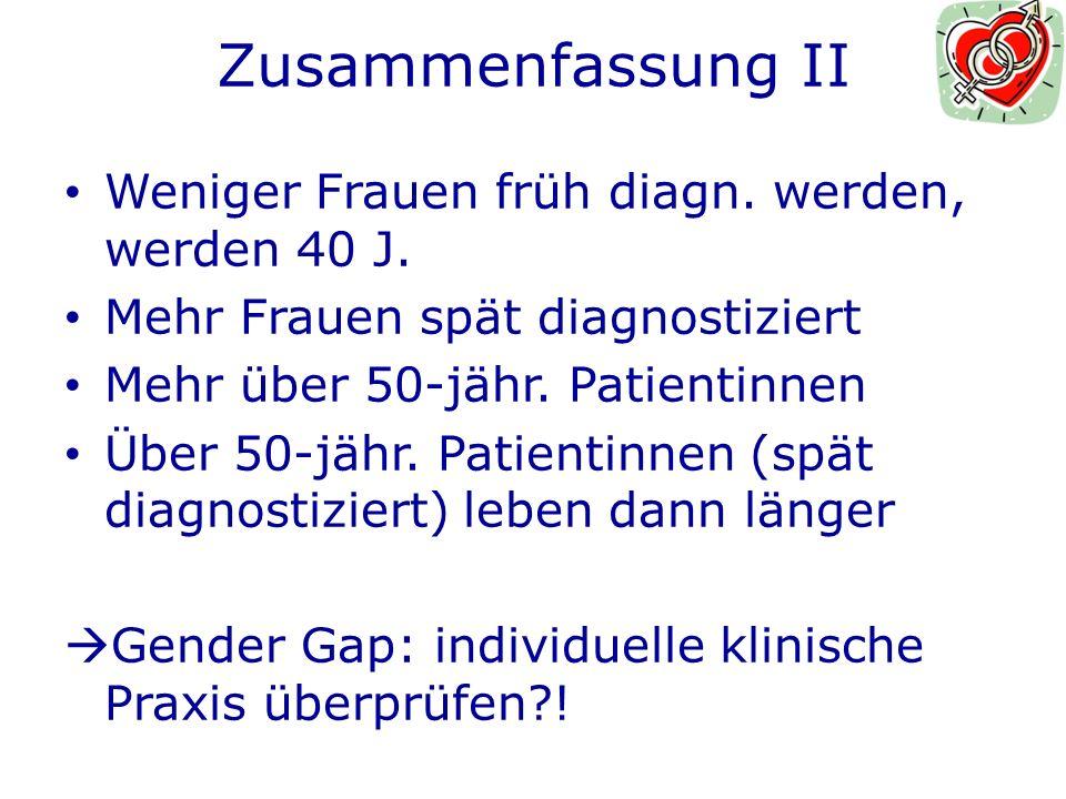 Zusammenfassung II Weniger Frauen früh diagn.werden, werden 40 J.
