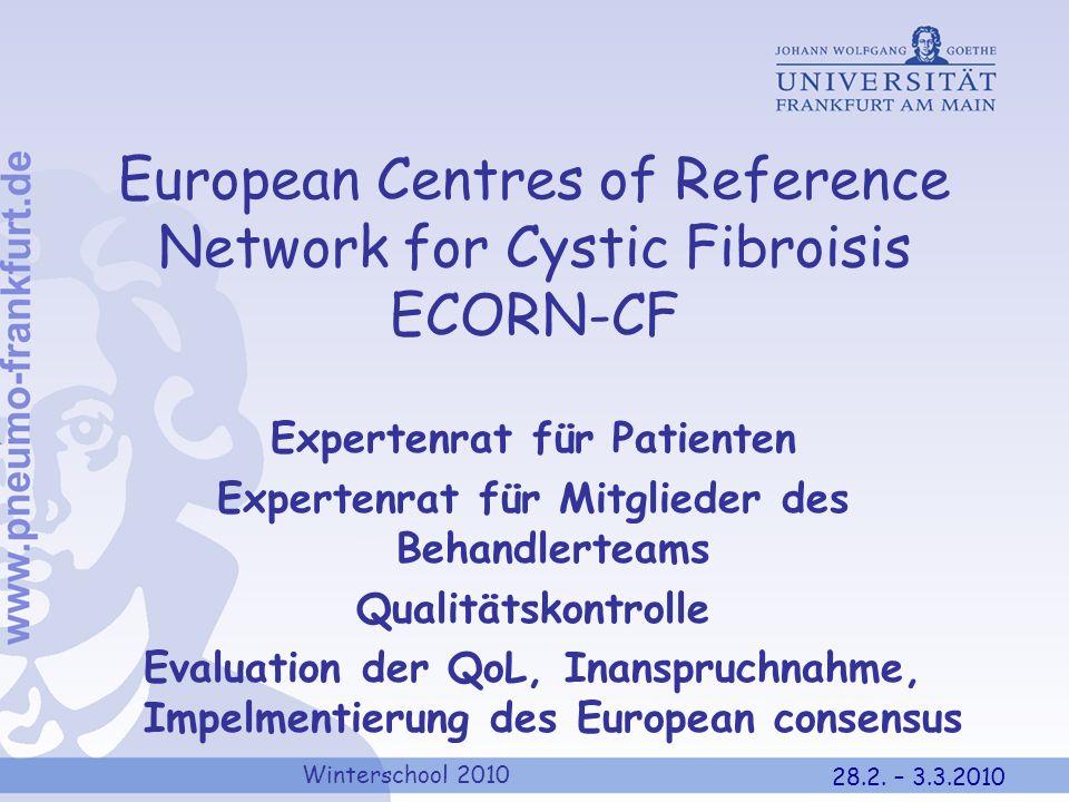 Winterschool 2010 28.2. – 3.3.2010 European Centres of Reference Network for Cystic Fibroisis ECORN-CF Expertenrat für Patienten Expertenrat für Mitgl