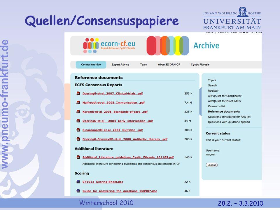 Winterschool 2010 28.2. – 3.3.2010 Quellen/Consensuspapiere