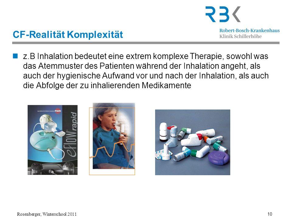 Rosenberger, Winterschool 2011 10 CF-Realität Komplexität z.B Inhalation bedeutet eine extrem komplexe Therapie, sowohl was das Atemmuster des Patient