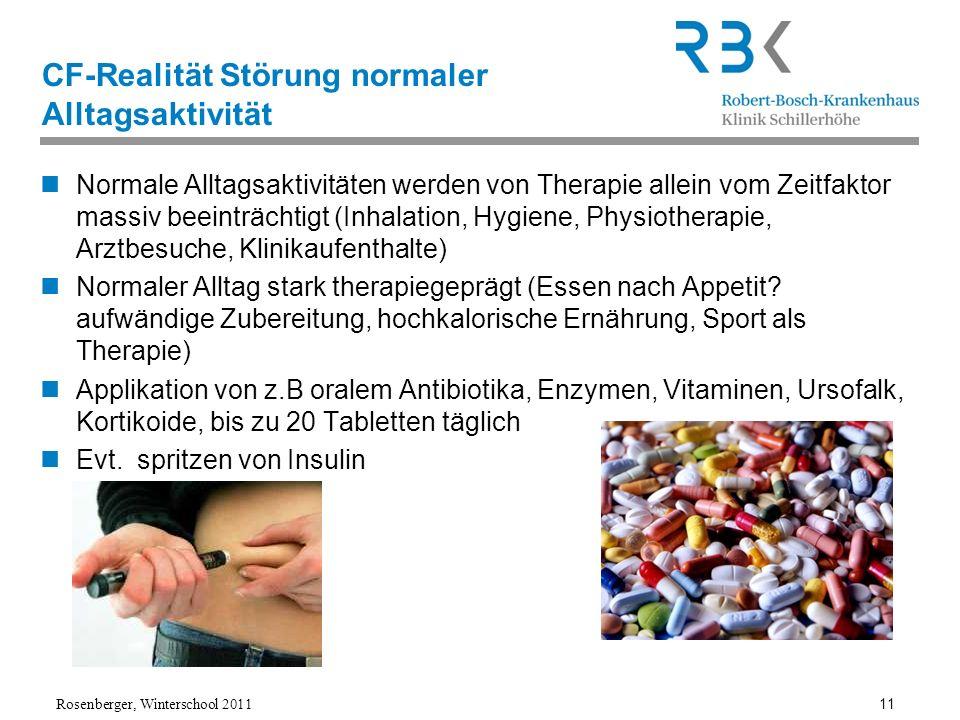 Rosenberger, Winterschool 2011 11 CF-Realität Störung normaler Alltagsaktivität Normale Alltagsaktivitäten werden von Therapie allein vom Zeitfaktor m