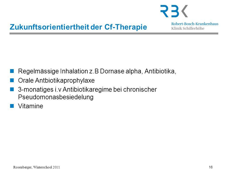 Rosenberger, Winterschool 2011 16 Zukunftsorientiertheit der Cf-Therapie Regelmässige Inhalation z.B Dornase alpha, Antibiotika, Orale Antbiotikaproph