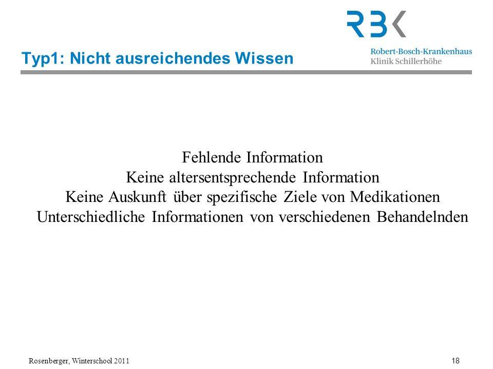Rosenberger, Winterschool 2011 18 Typ1: Nicht ausreichendes Wissen Fehlende Information Keine altersentsprechende Information Keine Auskunft über spez