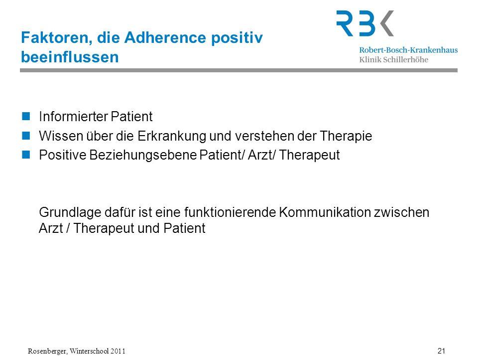 Rosenberger, Winterschool 2011 21 Faktoren, die Adherence positiv beeinflussen Informierter Patient Wissen über die Erkrankung und verstehen der Thera