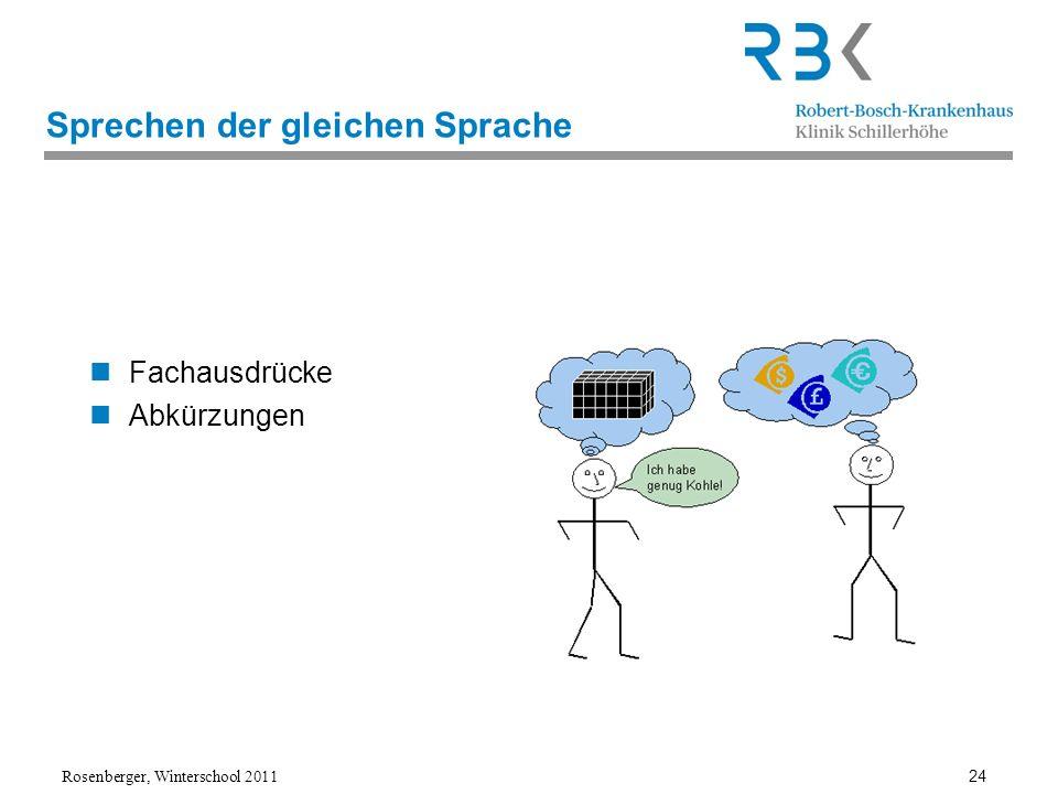 Rosenberger, Winterschool 2011 24 Sprechen der gleichen Sprache Fachausdrücke Abkürzungen